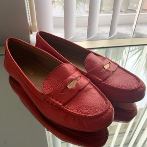 Coach Red Leather Penny Loafers